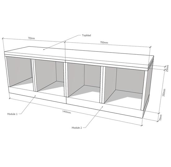 Afbeeldingen van Houten kast laag modulair configurator