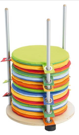 Afbeeldingen van Zitkussenstandaard met 28 ronde zitkussens in polyester - op wieltjes