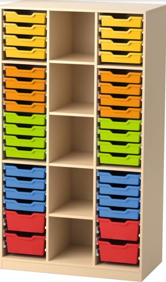 Afbeeldingen van Open eigendomskast voor max 40 kunststoflades - met 2 middenwanden