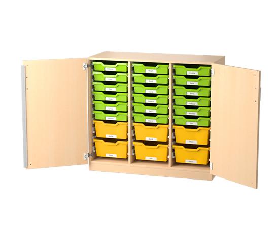 Afbeeldingen van Eigendomskast met deuren - voor kunststoflades - met 2 middenwanden - optioneel met wielen