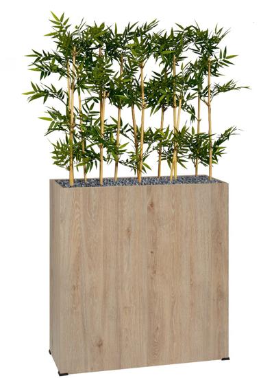 Afbeeldingen van Bosco plantenbak in hout - met bamboe in semi-natural - op wieltjes - hoogte bak: 74 cm