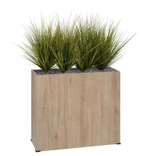 Afbeeldingen van Bosco plantenbak in hout - met korte kunstgrassen - op wieltjes - hoogte bak: 74 cm