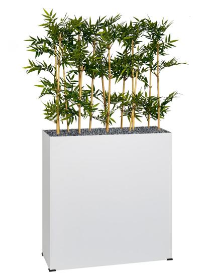 Afbeeldingen van Bosco plantenbak in metaal - met bamboe in semi-natural - op wieltjes - hoogte bak: 74 cm
