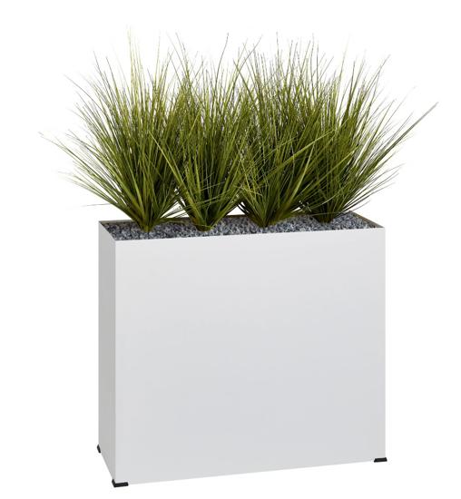 Afbeeldingen van Bosco plantenbak in metaal - met kunstgrassen - op wieltjes - hoogte bak: 74 cm