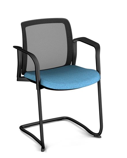 Afbeeldingen van Wi-Max R - vergader- of bezoekersstoel met hoge rug in mesh - met armleuningen