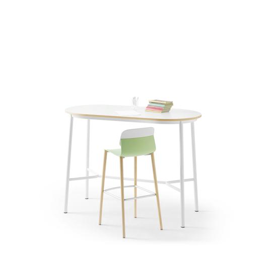 Afbeeldingen van Klik - ovale hoge tafel - werkhoogte: 92 cm - met voetensteun